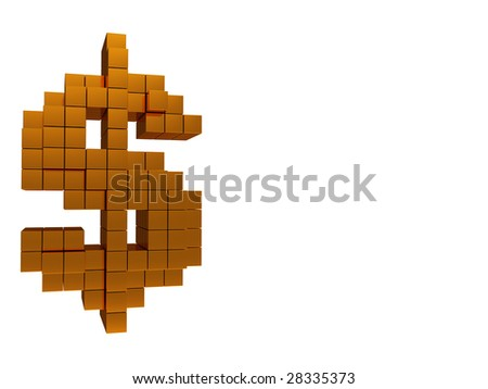 abstract 3d illustration of dollar sign built from blocks, background - stock photo