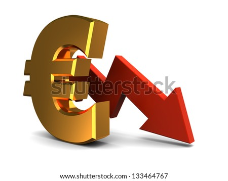 abstract 3d illustration of euro falling graph - stock photo