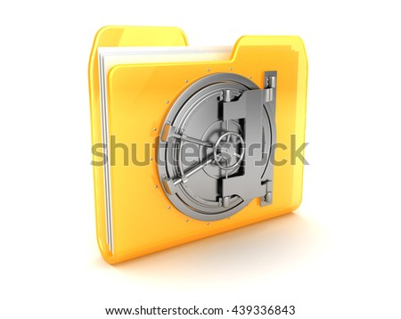 abstract 3d illustration of folder with vault door - stock photo