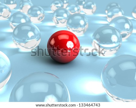 abstract 3d illustration of glass spheres and one red - stock photo