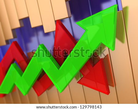 abstract 3d illustration of green and red arrows graph - stock photo