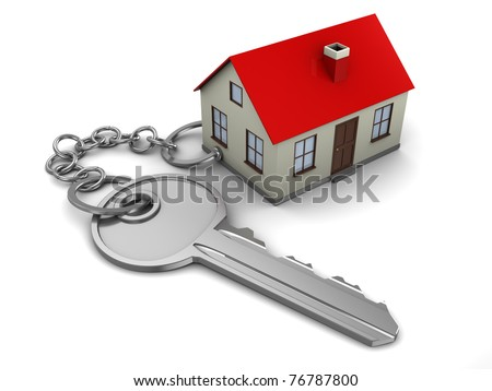 abstract 3d illustration of home key concept - stock photo