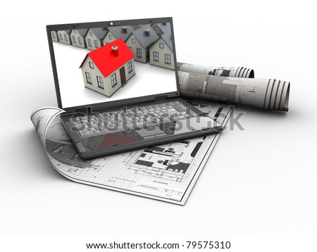 abstract 3d illustration of house blueprints with laptop - stock photo