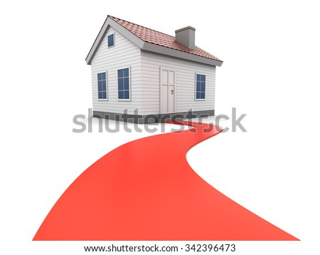 abstract 3d illustration of house with red road to it - stock photo