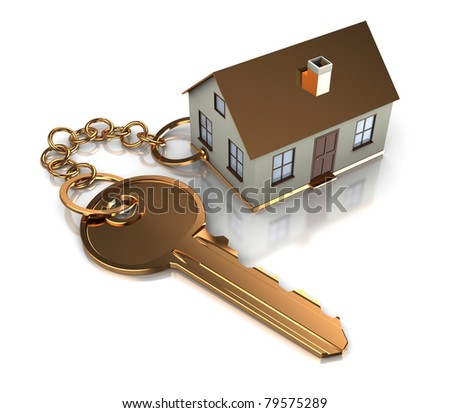 abstract 3d illustration of key with house model - stock photo