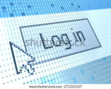 abstract 3d illustration of log in button on screen closeup macro - stock photo