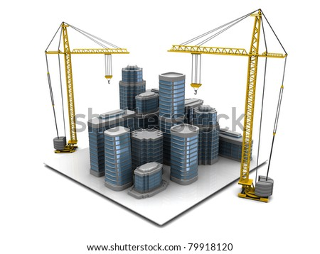abstract 3d illustration of modern city construction - stock photo