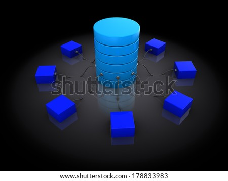 abstract 3d illustration of network structure, over black background - stock photo