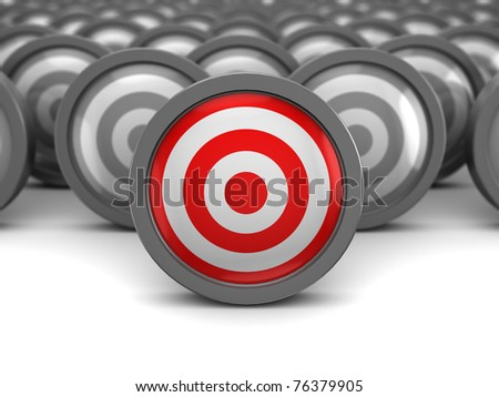 abstract 3d illustration of one right target and many wrong - stock photo