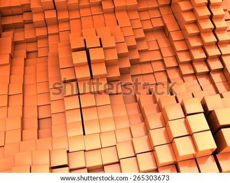 abstract 3d illustration of orange blocks background - stock photo