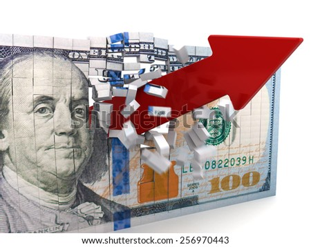 abstract 3d illustration of red arrow broke dollar puzzle - stock photo