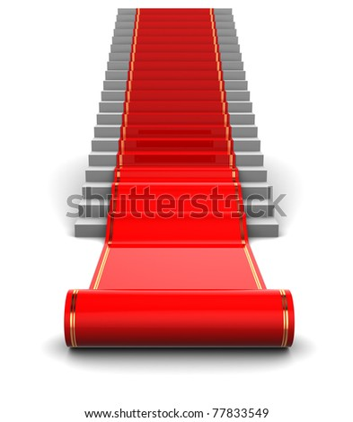 abstract 3d illustration of red carpet unwraping - stock photo