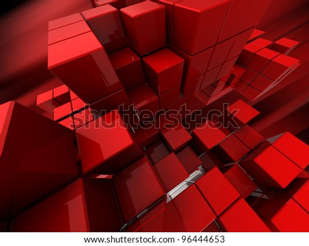 abstract 3d illustration of red cubes background - stock photo