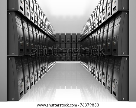 abstract 3d illustration of room with many servers  computers - stock photo