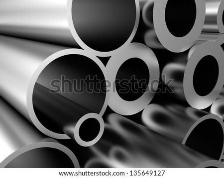 abstract 3d illustration of steel pipes background - stock photo
