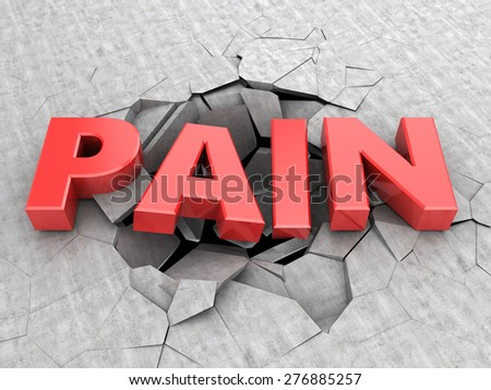 abstract 3d illustration of text pain and cracks - stock photo