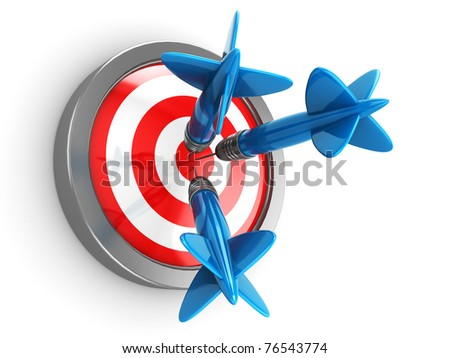 abstract 3d illustration of three darts hit target - stock photo