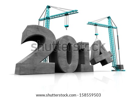 abstract 3d illustration of two cranes building text '2014', over white background - stock photo