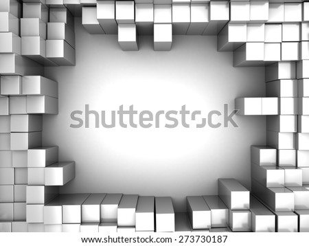 abstract 3d illustration of white boxes background - stock photo