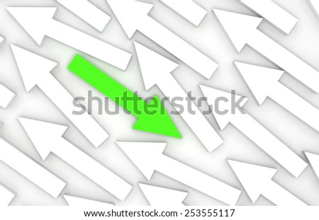 Abstract 3d illustration, one green arrow goes opposite in white group - stock photo
