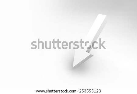 Abstract 3d illustration. Single arrow and soft shadow - stock photo
