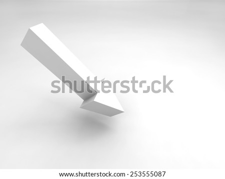 Abstract 3d illustration. Single arrow sign and soft shadow - stock photo