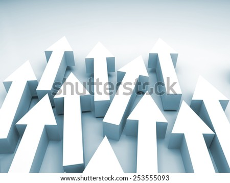Abstract 3d illustration with white arrows and blue shadows - stock photo