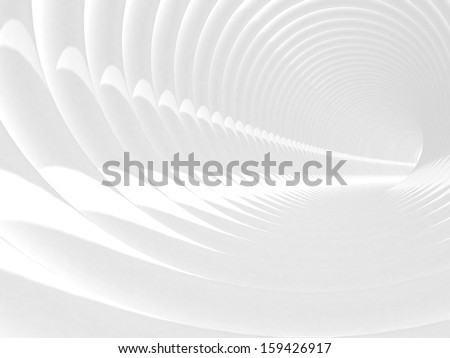 Abstract 3d illustration with white bent spiral tunnel interior - stock photo