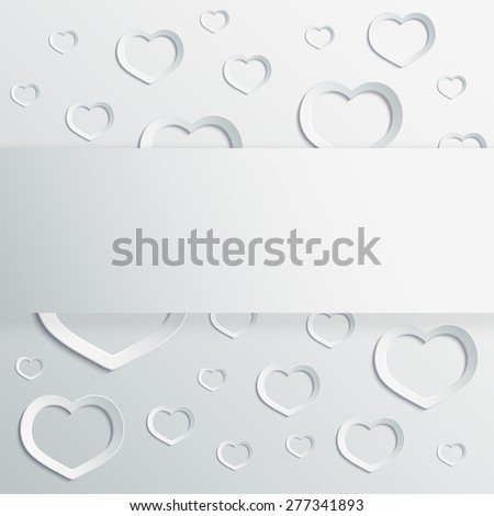 Abstract 3D paper hearts background with place for text. raster version illustration. - stock photo
