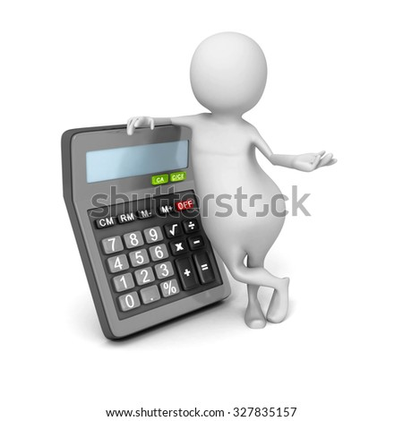 Abstract 3d Person With Calculator. 3d Render Illustration - stock photo