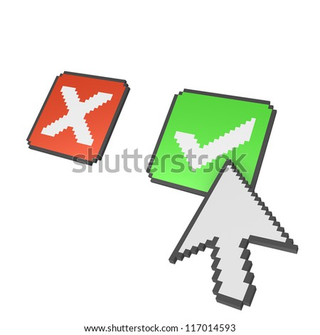 Abstract 3d pixelated arrow pointing on check mark. - stock photo