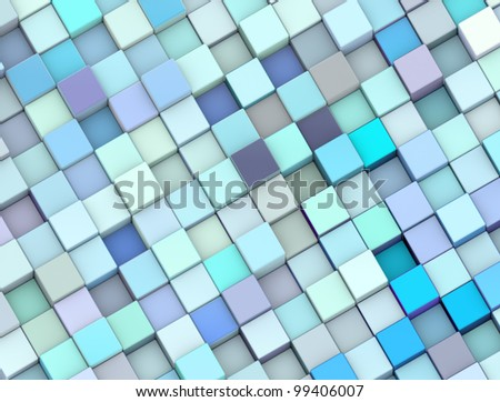 abstract 3d render backdrop cubes in different shades of blue - stock photo