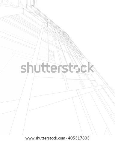 Abstract 3D render of building wireframe. Building facade and terrace pattern. - stock photo