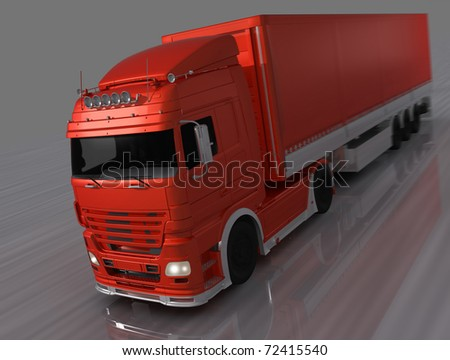 Abstract 3D rendered truck with mirror reflexion. - stock photo