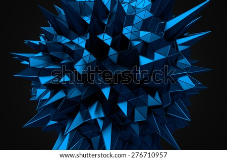 Abstract 3d rendering of blue sphere with chaotic structure. Dark background with wireframe and globe in empty space. Futuristic shape. - stock photo