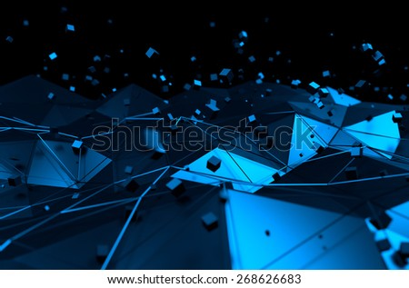 Abstract 3d rendering of blue surface with chaotic cubes. Background with futuristic lines and low poly shape. - stock photo