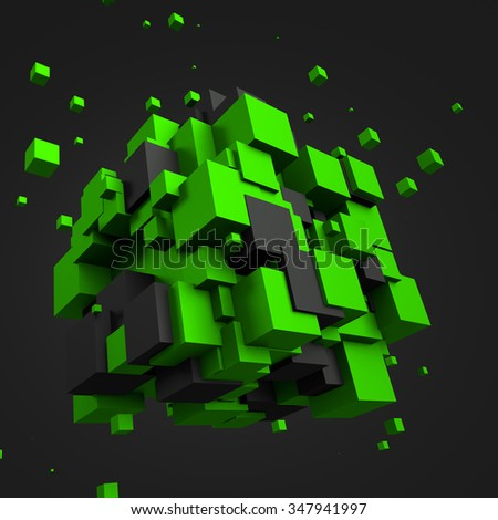 Abstract 3d rendering of chaotic black and green cubes. Poster with random cubes in empty space. Futuristic background. - stock photo