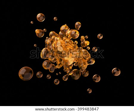 Abstract 3d rendering of chaotic liquid in empty space. Background with dynamic fluid splash. Design element. - stock photo
