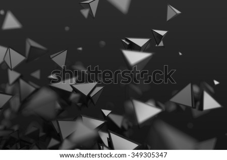 Abstract 3d rendering of chaotic shapes. Dark background with pyramids in empty space. - stock photo