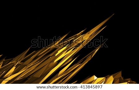 Abstract 3d rendering of chaotic surface. Background with futuristic polygonal shape. Noisy low poly glossy object. - stock photo