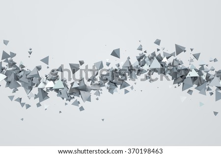 Abstract 3d rendering of chaotic triangles. Background with pyramids in empty space. - stock photo