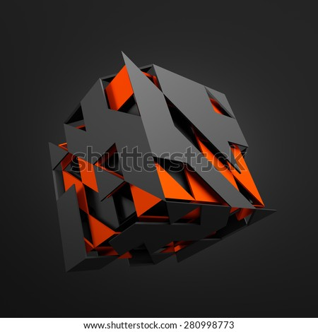 Abstract 3d rendering of flying cube. Sci fi shape in empty space. Futuristic background. - stock photo