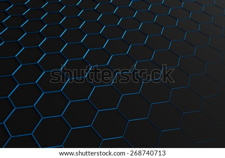 Abstract 3d rendering of futuristic surface with blue hexagons. Black sci-fi background. - stock photo