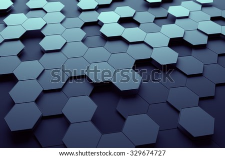 Abstract 3d rendering of futuristic surface with hexagons. Dark sci-fi background. - stock photo