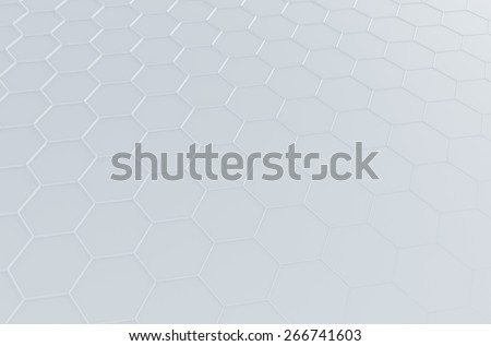 Abstract 3d rendering of futuristic surface with hexagons. White sci-fi background. - stock photo