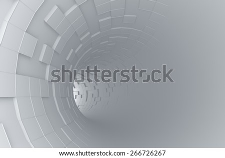 Abstract 3d rendering of futuristic tunnel. Background with sci-fi pipe and chaotic cubes. - stock photo