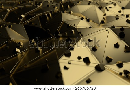 Abstract 3d rendering of gold surface with chaotic cubes. Background with futuristic lines and low poly shape. - stock photo