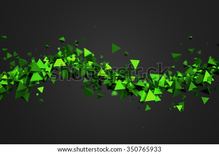 Abstract 3d rendering of green chaotic particles. Background of pyramids in empty space. - stock photo