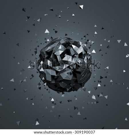 Abstract 3d rendering of low poly sphere with particles. Sci-fi background with globe in empty space. Futuristic shape. - stock photo