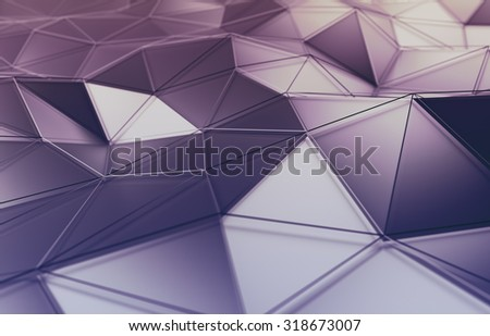 Abstract 3d rendering of polygonal surface. Background with futuristic lines and low poly shape. - stock photo